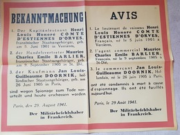 AFFICHE Annonçant Aux Fraçais Que ETIENNE D''ORVES Et Ses CompagnonsBARLIER Et DOORNICK Condamnés à Mort Pour Espionnage - 1939-45