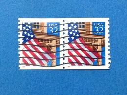 1995 STATI UNITI USA FLAG BANDIERA COPPIA 32 C FRANCOBOLLO USATO STAMP USED - Usati
