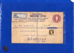 ##(DAN197)-Postal History-Great Britain 1958- Six Pence Overseas Registered Letter From London To Brussels-Belgium - 1952-.... (Elisabetta II)