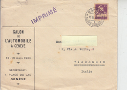 "SVIZZERA  1933 - Annullo Speciale ""Salon De L'automobile A Genève"" - Automobili"