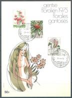 BELGIUM - 25.4.1975  - FLORALIEN FLORALIES - COB 1749-1751 - Lot 19624 - Cartes Souvenir