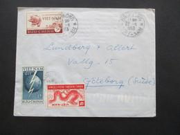 Vietnam 1953 Auslandsbrief Haiphong Nach Schweden! MiF Nr. 81, 82 Und 87 Par Avion / Luftpost - Vietnam