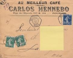 """OBLIT. HEXAGONALE De ROUBAIX """"A"""" - L.R. Du 21.7.1909 - AU MEILLEUR CAFÉ - Postmark Collection (Covers)"""
