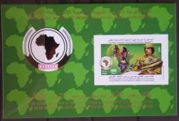 L21 - Libya 2009 MNH Self Adhesive Block S/S - The Leader Al-Gathafi Founder & President Of The African Union - Libya