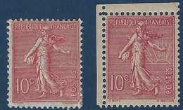 France FAUX Schnebelin Semeuse Lignée N°129h** 10c Rose Cdfeuille  RRR !(avec Normal Pour Comparaison) - 1903-60 Semeuse Lignée