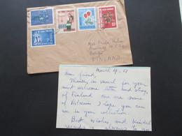 Vietnam / Süd Vietnam 1968 Auslandsbrief Nach Finnland! 5 Marken Und Mit Inhalt!! Saigon - Vietnam