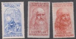 Italy Republic S 686-688 1952 Leonardo Da Vinci 500th Birth Anniversary, Mint Hinged - 6. 1946-.. Republik