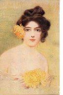 Illustrée : Jolie Femme Aux Chrysanthèmes - Femmes