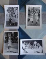 Saïgon Années 1950 - 4 Photos D'une Même Famille (restaurant, Enfant, Femmes Dans Rue De La Ville) - Places