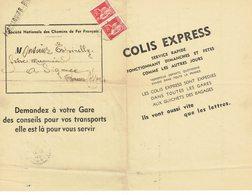 283 X 2 Type Paix 50 C. Rouge Bulletin Colis Express Fortcalquier Basses Alpes 29-11-1940 - France