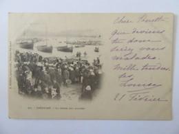 Tréguier N°91 - La Pêche Aux Huîtres - Carte Précurseur Animée, Circulée En 1901 - Tréguier