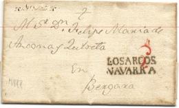 Lettre De LUQUIN Avec Cachet De LOS ARCOS Ref Tison N°6, Très Bon état, Datée De 1825 - ...-1850 Prephilately
