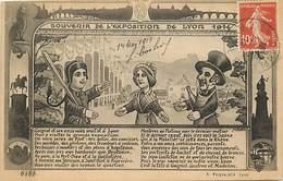 - Ref- B765- Guignol - Souvenir De L Exposition De Lyon 1914 - Invitation De Guignol à Visiter L Exposition - Rhône - - Spectacle