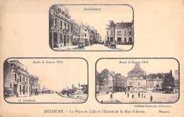 62 - BETHUNE ( Militaria ) Multivues Sépia - Place De Lille ( Avant 1914 - Après 1918 - Actuellement ) CPAPas De Calais - Bethune