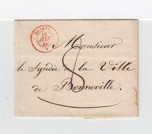 Sur LAC De Genève Pour Bonneville CAD Rouge Genève Juin 1844. Taxe Manuscrite. Au Verso Cachet Linéaire GIU 18. (2355x) - Postmark Collection