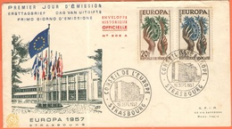 FRANCIA - France - 1958 - Europa Cept - 2 FDC - Paris + Strasbourg - Europa-CEPT