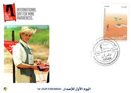 DZ Algeria 1681 FDC International Campaign To Ban Landmines Mine Awareness Lady Diana Princess Of Wales - Royalties, Royals
