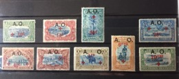 Ruanda Urundi - 36/44a - Red Cross - Vermillon Overprint - 1918 - MNH & MH - Ruanda-Urundi