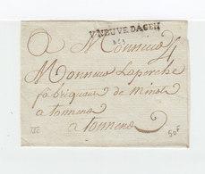 Sur Partie De Lettre Pour Tonneno Marque Linéaire Vneuve Dagen Lot Et Garonne. Taxe Manuscrite. (2359x) - 1701-1800: Précurseurs XVIII