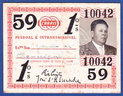Portugal, PASSE 1959 - CARRIS, Companhia Carris De Ferro De Lisboa - Abonnements Hebdomadaires & Mensuels