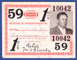 Portugal, PASSE 1959 - CARRIS, Companhia Carris De Ferro De Lisboa - Week-en Maandabonnementen