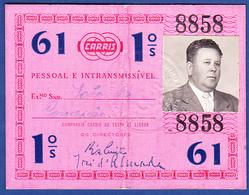 Portugal, PASSE 1961 - CARRIS, Companhia Carris De Ferro De Lisboa - Abonnements Hebdomadaires & Mensuels