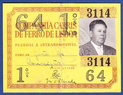 Portugal, PASSE 1964 - CARRIS, Companhia Carris De Ferro De Lisboa - Week-en Maandabonnementen