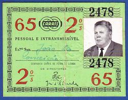 Portugal, PASSE 1965 - CARRIS, Companhia Carris De Ferro De Lisboa - Abonnements Hebdomadaires & Mensuels