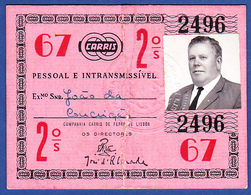 Portugal, PASSE 1967 - CARRIS, Companhia Carris De Ferro De Lisboa - Abonnements Hebdomadaires & Mensuels