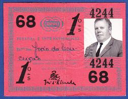 Portugal, PASSE 1968 - CARRIS, Companhia Carris De Ferro De Lisboa - Abonnements Hebdomadaires & Mensuels