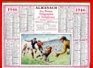 CALENDRIER POSTE 1946 MATCH DE FOOTBALL MODELE ECONOMIQUE EN TRES BON ETAT IMPRIMEUR OLLER PUTEAUX - Tamaño Grande : 1941-60
