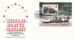 GOOD ALDERNEY FDC 1995 - Ship / Welcome To Home - Alderney
