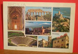Sicilia Vedute Cefalù Selinunte Tindari Taormina Segesta Palermo Cartolina 2002 - Italia