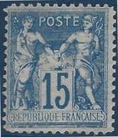 France Sage N°90f * Faux De Chalons 15c Bleu TTB - 1876-1898 Sage (Type II)