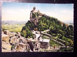 San Marino: La Seconda Torre. Cartolina B/n Acquerellato FG Vg 1955 - San Marino