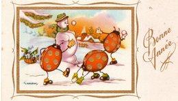 Bonne  Année Bonhomme De Neige Snowmann Schneeman Coccinelle Humanisé Illustrateur Gougeon - Nieuwjaar