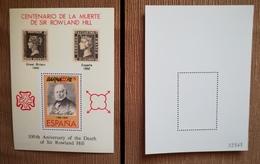 ESPAÑA SPAIN 1979 BARNAFIL 79 HOJA RECUERDO CENTENARIO DE LA MUERTE DE SIR ROWLAND HILL MNH - Hojas Conmemorativas