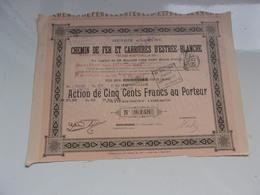 Chemin De Fer Et Carrières D'estrée Blanche (pas De Calais)1899 - Acciones & Títulos