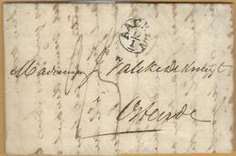 _6Rv-929:volledige Brief:120x80mm: AACHEN 17/1 > Ostende+OSTENDE 20 JANV 1832+Duitschland Over Verviers - ...-1849 Vorphilatelie