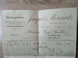 Nancy 1897 Epicerie En Gros Entrepot Allumettes Jacquot Morawetz Facture Entête - France