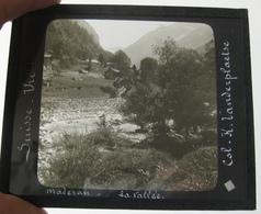 Positif Sur Plaque De Verre - Suisse - Uri - Maderan - La Vallée - 2 Scans - Glasplaten