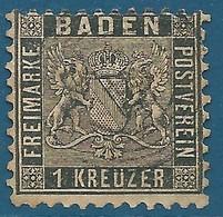 Bade N°13 1k Noir Oblitéré - Baden