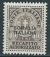 1941 SOMALIA RECAPITO AUTORIZZATO 10 CENT MNH ** - I62-4 - Somalia