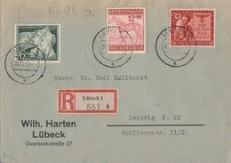 DR R-Brief Mif Minr.834,858,863 Lübeck 29.11.43 - Deutschland