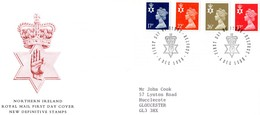 Northern Ireland 1990  -  New Definitive Stamps FDC  -  4v  First Day Cover With Info Card - Irlanda Del Norte