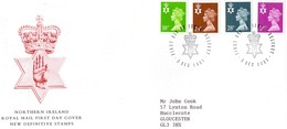 Northern Ireland 1991  -  New Definitive Stamps FDC  -  4v  First Day Cover With Info Card - Irlanda Del Norte