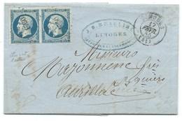 PAIRE N° 14 BLEU NAPOLEON SUR LETTRE / LIMOGES POUR AURILLAC / 17 FEVR 1855 - 1849-1876: Classic Period