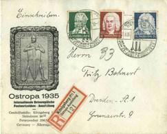 DR  Mi-Nr 573-575 /Schütz- Bach- Händel-Feier,   Echt Gelaufener  Portogerecht-frankierter R-Brief - Germania