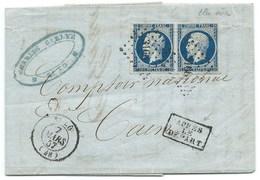 PAIRE N° 14 BLEU NAPOLEON SUR LETTRE / ST LO POUR CAEN / 7 MARS 1857 / APRES LE DEPART - 1849-1876: Classic Period