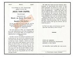 D 785. JULES VAN DUFFEL  Wed. A. Van Lindt En R. Van Duffel - °PEER 1877 / + OVERPELT 1960 - Images Religieuses